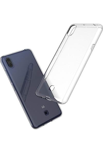 Happyshop LG K20 2019 Kılıf Ultra İnce Şeffaf Silikon + Cam Ekran Koruyucu - Şeffaf