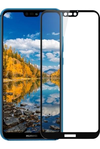 Casestore Huawei P20 Lite Esnek 5D Fiber Tam Kaplayan Nano Glass Ekran Koruyucu Cam - Siyah