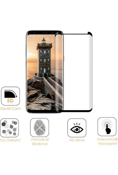Casestore Huawei Y7 2018 5D Tam Kaplayan Cam - Siyah