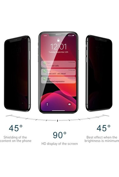 Casestore Huawei Y7 2019 5D Gizlilik Filtreli Hayalet Cam - Siyah
