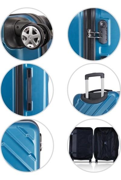 Troya Basic Abs 2'Li Valiz Seti Makyaj + Orta Boy Petrol Mavi