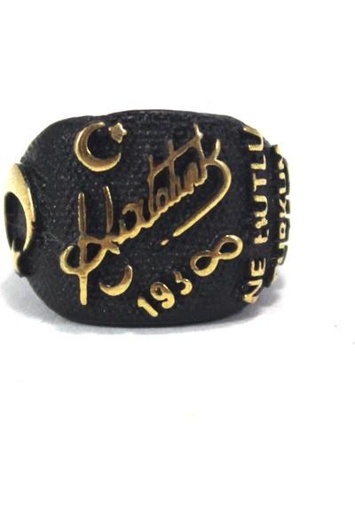 Modaroma Atatürk İmzası Siyah Yüzük