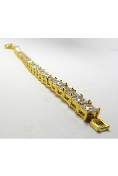 Bijuta Zirkon Taşlı Altın Kaplama Su Yolu Bileklik 22 Ayar Antialerjik