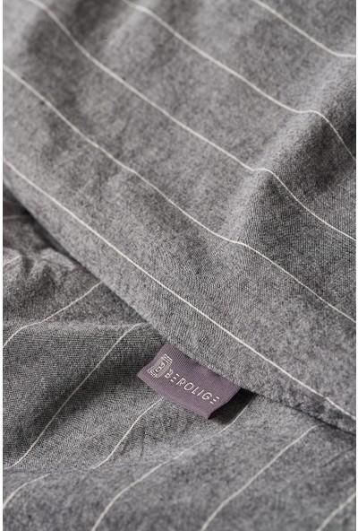 Berolige Suit 100% Pamuklu Tek Kişilik Yıkamalı Iplik Boya Çizgili Nevresim Takımı Antrasit