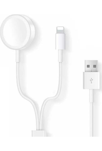 Lopard Apple Watch 1/2/3/4/5 Serisi 2in1 + Lightning Şarj Kablosu Beyaz