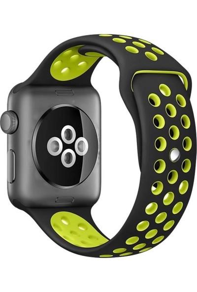 Lopard Apple Watch 42 mm KRD-02 Delikli Spor Silikon Kordon Kayış Siyah-Yeşil