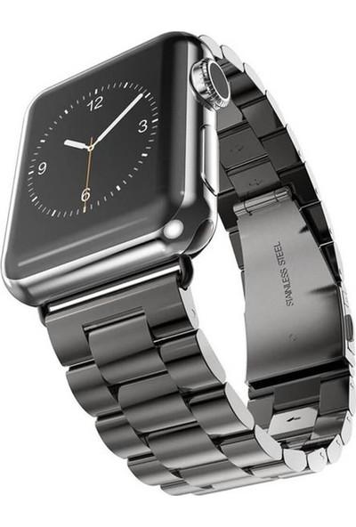 Lopard Apple Watch 44 mm KRD-04 Paslanmaz Metal Çelik Kordon Kayış Siyah