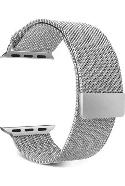 Lopard Apple Watch 44 mm Kayış KRD-01 Metal Milanese Çelik Kordon Gümüş