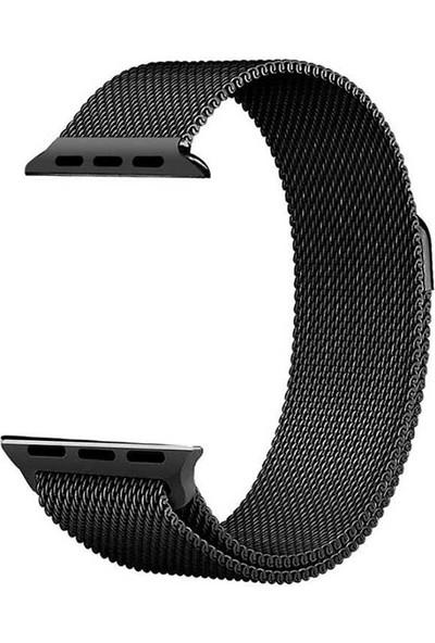 Lopard Apple Watch 40 mm Kayış KRD-01 Metal Milanese Çelik Kordon Siyah