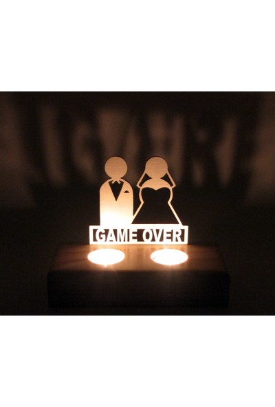 Didideko Ahşap Tealight Mumluk Game Over