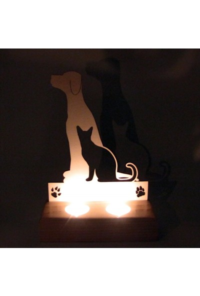 Didideko Ahşap Tealight Mumluk Cat Dog