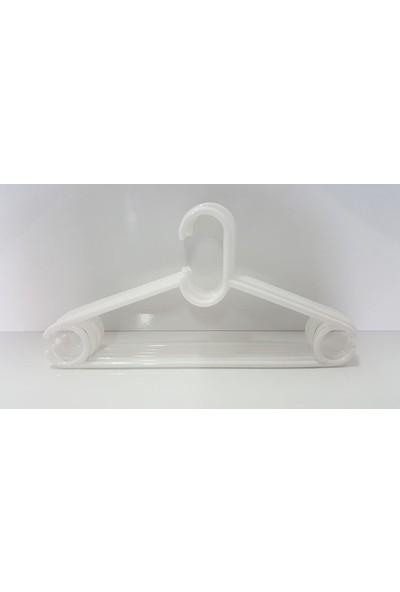 Özer Sert Plastik Yapım 6'lı Beyaz Renk Elbise Askısı