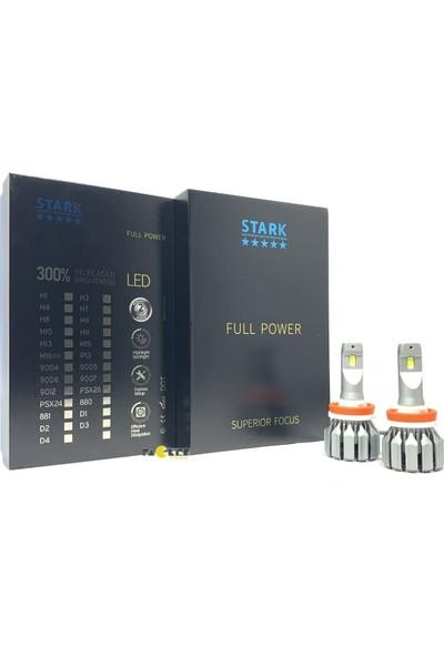 Stark Full Power H8 CSP 9600 Lümen Şimşek Etkili Led Xenon 6000 Kelvin Beyaz Focus Özellikli Fan Soğuculu Far Ampulü