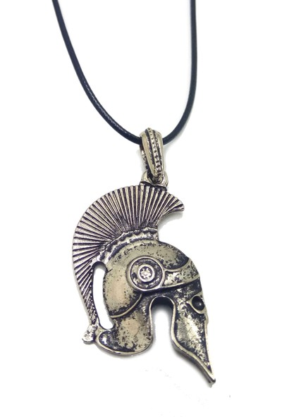 Madame Kuub Gladyatör Temalı Deri Kordonlu Erkek Kolye Gümüş