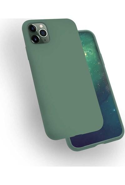 Zore iPhone 11 Pro Max Silk Silikon Kılıf Koyu Yeşil