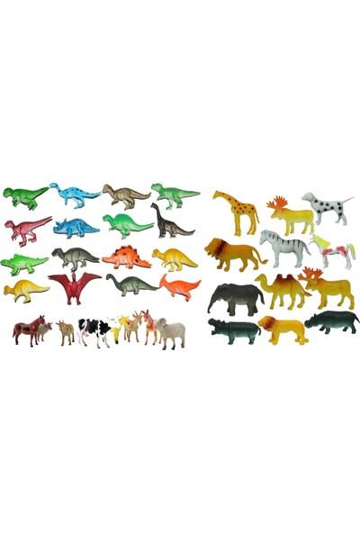 Yeşil Oyuncak Hayvan Seti 35 Parça Oyuncak Vahşi Hayvanlar Çiftlik Hayvanları ve Dinazorlar Figürleri