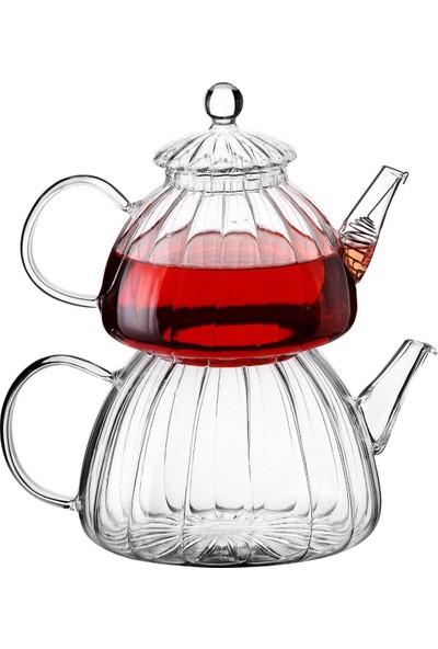 Mercan Cam Çaydanlık Isıya Dayanıklı Borosilikat