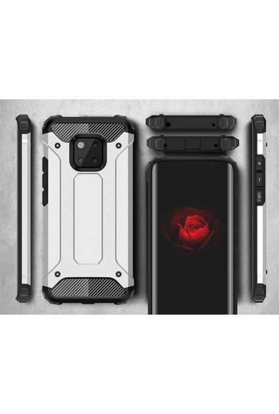 Tekno Grup Xiaomi Redmi 8 Kılıf Çift Katmanlı Darbe Emici Crash Tank Kılıf - Rose + Tam Kaplayan Cam Ekran Koruyucu