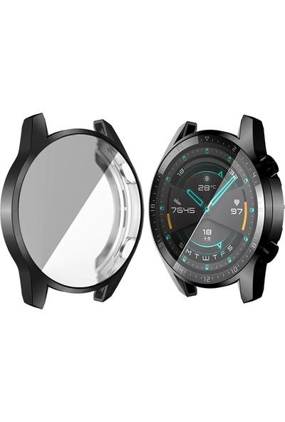 Ally Huawei Watch GT 2 46 mm 360 Koruma Ultra İnce Silikon Kılıf AL-31650 - Siyah
