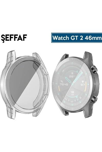 Ally Huawei Watch GT 2 46 mm 360 Koruma Ultra İnce Silikon Kılıf AL-31650 - Şeffaf
