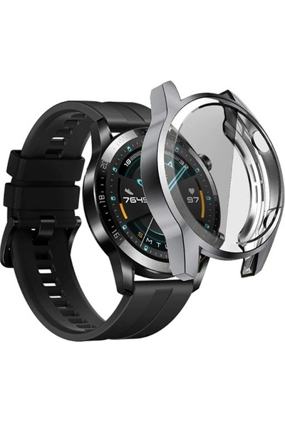 Ally Huawei Watch GT 2 46 mm 360 Koruma Ultra İnce Silikon Kılıf AL-31650 - Gri
