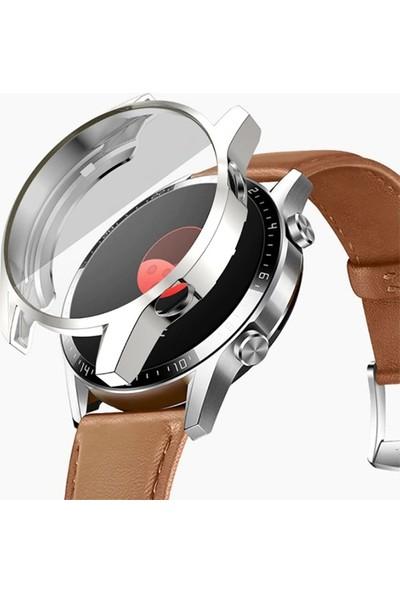 Ally Huawei Watch GT 2 46 mm 360 Koruma Ultra İnce Silikon Kılıf AL-31650 - Gümüş