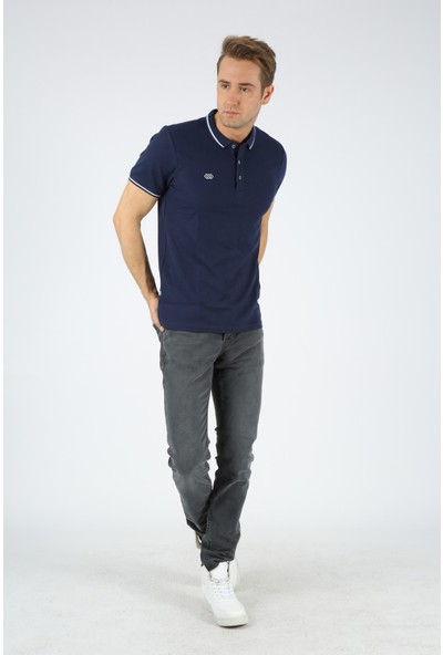 Dafron Sport Erkek Polo Çizgili Yaka Tişört