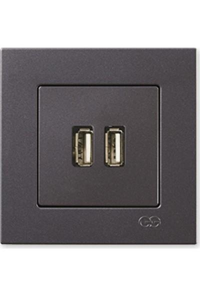 Günsan 2 Çıkışlı USB Şarj Prizi, 5V, 2.1A, Füme 01401700-100353
