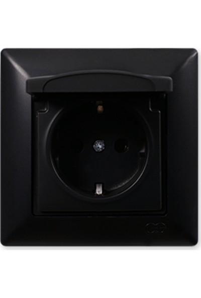 Günsan Kapaklı Topraklı Priz, M.Siyah 01283400-100117