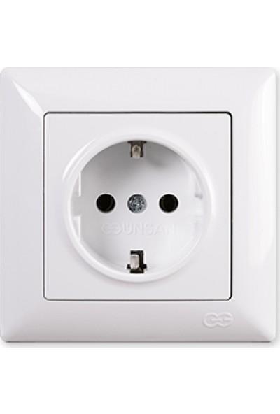 Günsan Topraklı Priz, Beyaz 01281100-100115