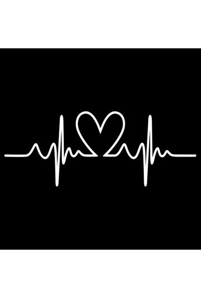 Oto Aksesuarcım Kalp Ritmi Ekg Oto Sticker Beyaz 23X9CM