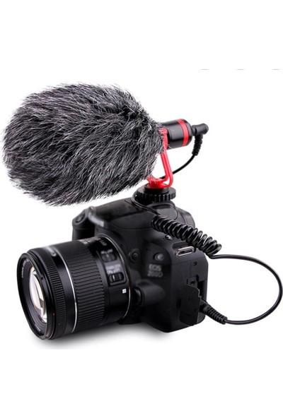 Coverzone Profesyonel DSLR Kamera Rüzgar Önleyici Tüylü Ses Kayıt Mikrofon
