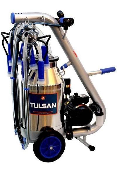 Tulsan Tempo Çift Inek Süt Sağım Makinesi Alüminyum Güğüm 40 lt