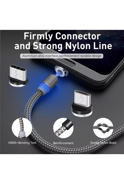 Judas Micro USB Manyetik Hızlı Data ve Şarj Kablosu 1 mt - Gümüş