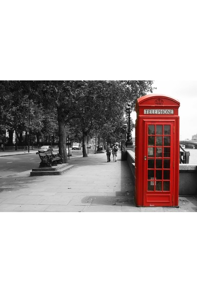 Tablosan Londra Kırmızı Telefon Kulübesi Kanvas Tablo