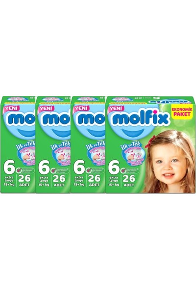 Molfix 6 Numara 26*4=104 Bebek Bezi