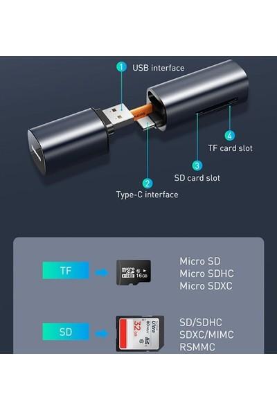 Baseus Mini-Cabin 2 in 1 USB Type-C USB 3.0 Hafıza Kart Okuyucu CADKQ-A0G