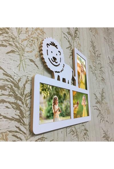 Hediyelik Çerçeve Dekorasyon Kişiye Özel Mdf Çerçeve Baskı 10X15 Çocuk Bebek Ev Ofis Kişiye Özel Mdf Çerçeve Baskı Doğumgünü Çocuk Seri-56 Aslan