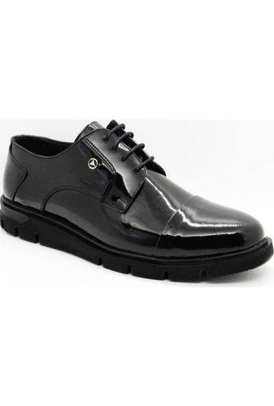 Serdar Yeşil Erkek Siyah Rugan Eva Taban Bağcıklı Klasik Ayakkabı