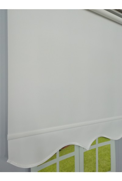 Esdeh İthal Kalın Mat Stor Perde Etekli Model Beyaz