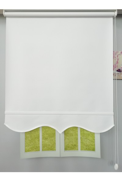 Esdeh Kalın Polyester Stor Perde Etekli Model Beyaz
