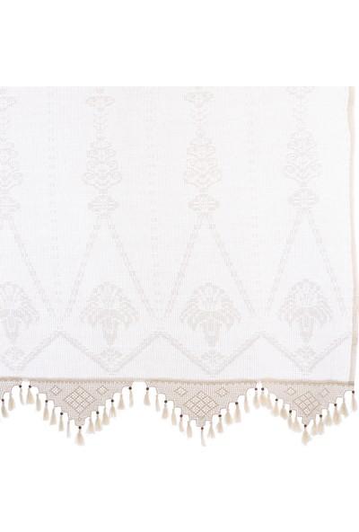 Tuncay Tekstil El Dantelli Buldan Palmiye Desen Tül Perde