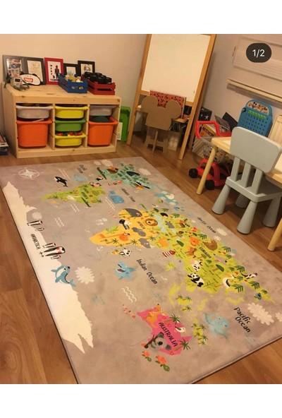 Karnaval Dünya Haritası Çocuk Odası Halısı