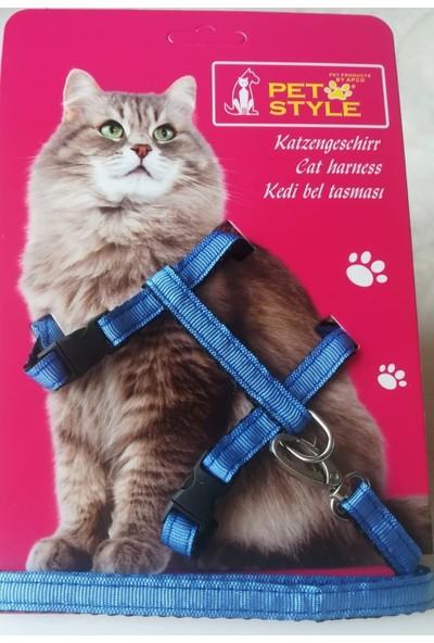 Petstyle Kedi Göğüs Bel Tasması Mavi