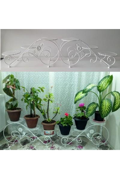 Bin1dekor Metal Ferforje Çiçeklik 6 Raflı Bahçe Balkon Çiçek Saksı Standı Sehpası Dekoratif Saksılık Stand Raf