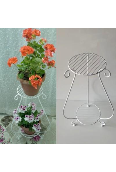 Bin1dekor Metal Ferforje Çiçeklik Iki Raflı Bahçe Balkon Çiçek Saksı Standı Sehpası Dekoratif Saksılık Sehpa