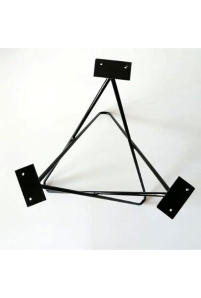 Bin1dekor Metal Firkete Ayak Ahşap Kütük Yan Orta Zigon Sehpa Ayağı Modern Yıldız Model Servis Sehpası Ayağı