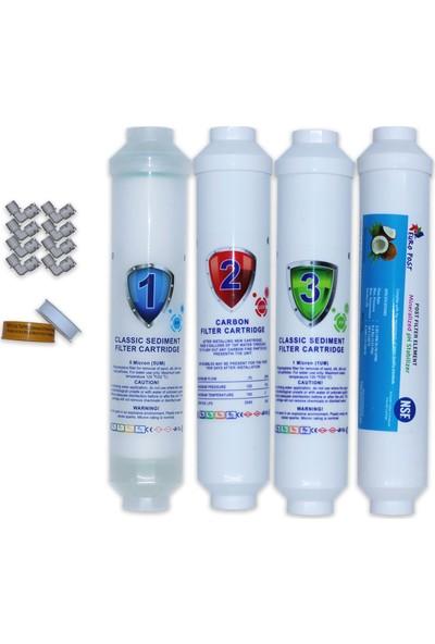 Aqua Clean Su Arıtma Cihazı 4'lü Tezgah Üstü Filtre Seti Bms ve Waterbox Cihazlara Uyumludur