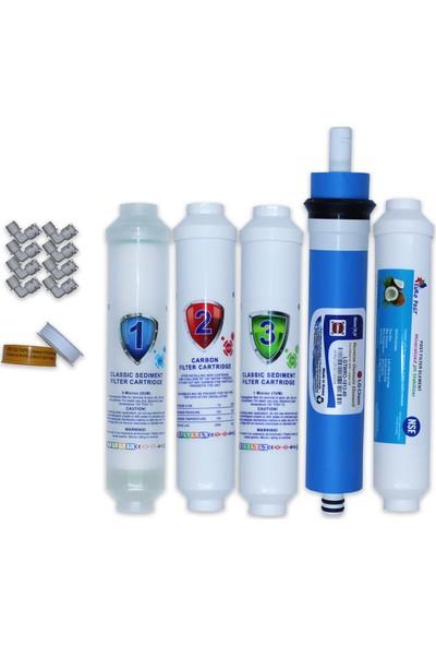 Aqua Clean Su Arıtma Cihazı 5'li Set Lg Mebranlı Bms ve Tezgah Üstü Cihazlara Uyumludur