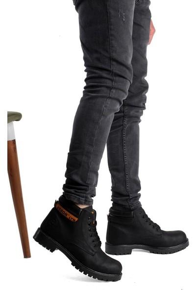 Moda Taraz Erkek Bot A304 Verter Siyah Cilt Bot
